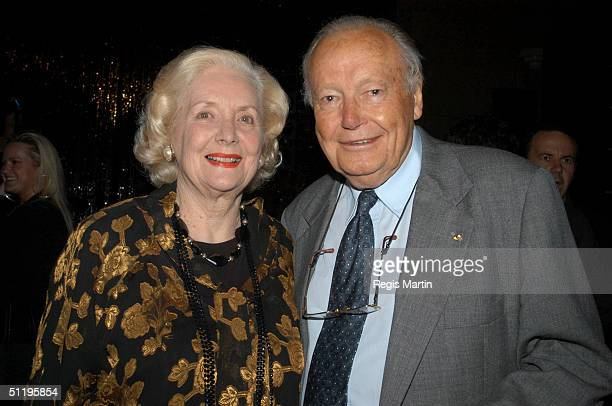 Val Jellay and Charles Bud Tingwell at the Grand Hyatt Hotel in Melbourne for the after party of the opening night of the musical 'The Full Monty' in...