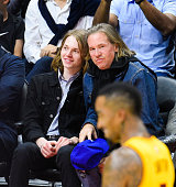 Val Kilmer and his son Jack Kilmer attend a basketball game between the Cleveland Cavaliers the Los Angeles Clippers at Staples Center on January 16...