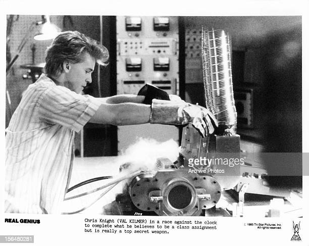 Val Kilmer completes class assignment in a scene from the film 'Real Genius' 1985