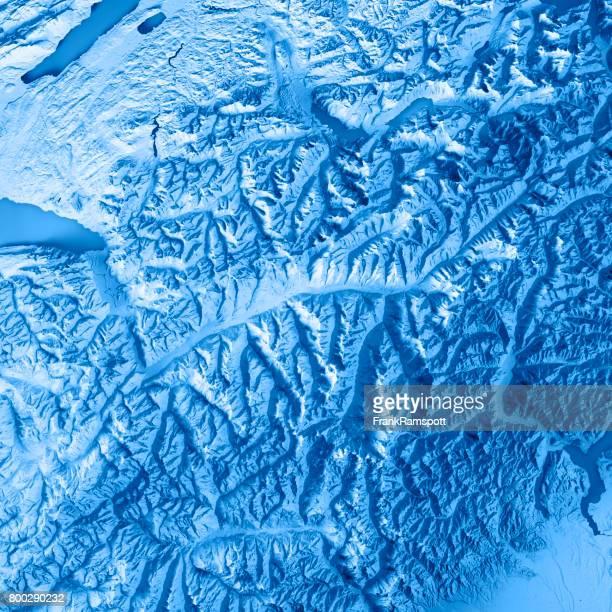 Kanton Wallis Schweiz 3D Render topographische Karte blau
