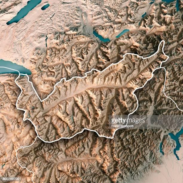 Kanton Wallis Schweiz 3D Render topographische Karte Neutral Grenze