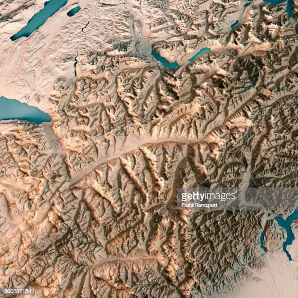 Kanton Wallis Schweiz 3D Render topographische Karte Neutral