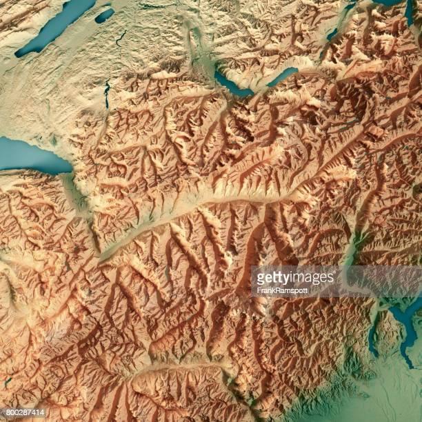 Kanton Wallis Schweiz 3D-Render topographische Karte