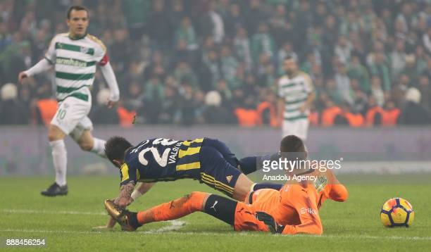 Valbuena of Fenerbahce in action during the Turkish Super Lig soccer match between Bursaspor and Fenerbahce at Timsah Arena in Bursa Turkey on...