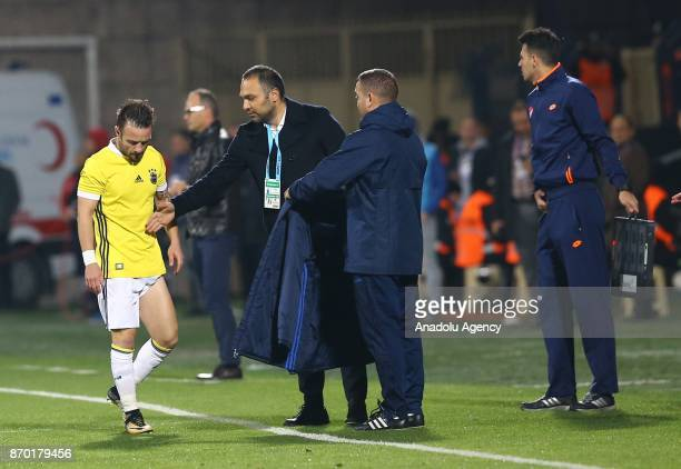 Valbuena of Fenerbahce leaves the pitch after an injury during the Turkish Super Lig soccer match between Osmanlispor and Fenerbahce at the Osmanli...