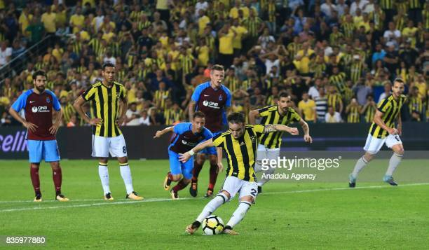 Valbuena of Fenerbahce takes a penalty shot during Turkish Super Lig soccer match between Fenerbahce and Trabzonspor at the Ulker Stadium in Istanbul...