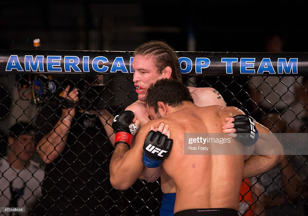 Valdir Araujo pushes Steve Carl up against the cage during the filming of The Ultimate Fighter American Top Team vs Blackzilians on February 3 2015...