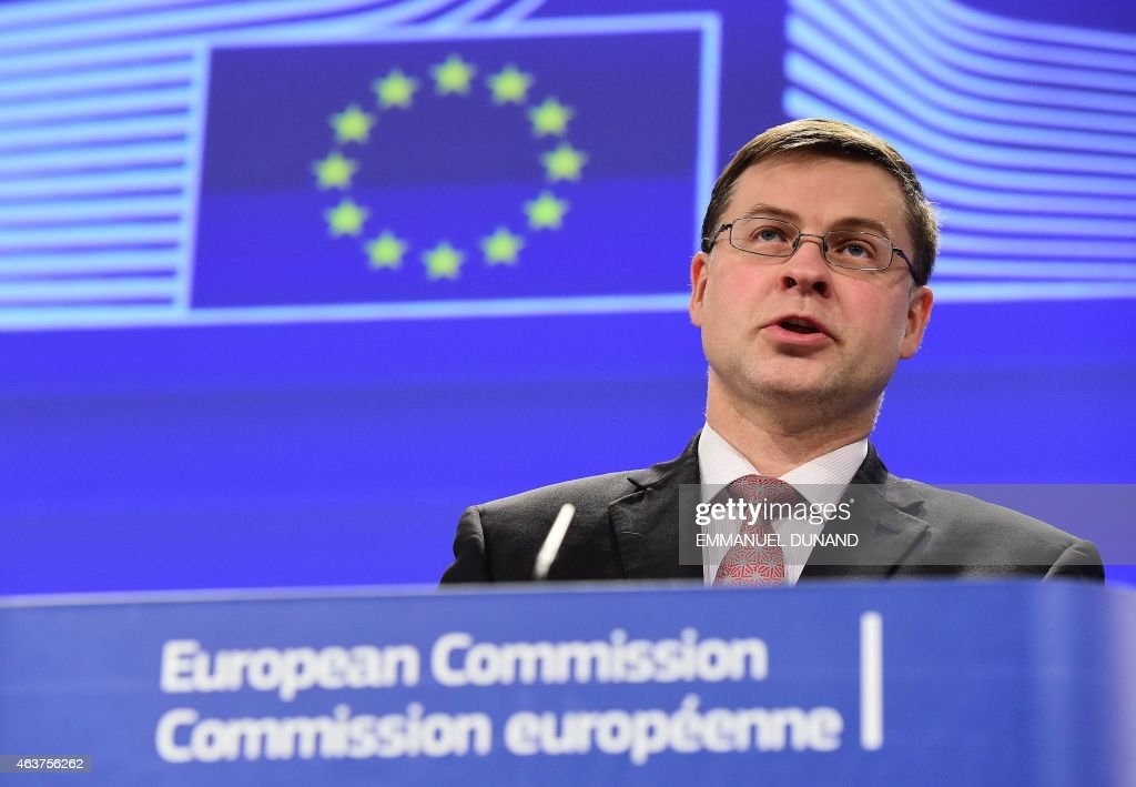 <a gi-track='captionPersonalityLinkClicked' href=/galleries/search?phrase=Valdis+Dombrovskis&family=editorial&specificpeople=5732119 ng-click='$event.stopPropagation()'>Valdis Dombrovskis</a>, European Commission (EC) vice president for the Euro and Social Dialogue, addresses the press about the EC college meeting and orientation debate on taxation at the European Commission headquarters in Brussels on February 18, 2015.