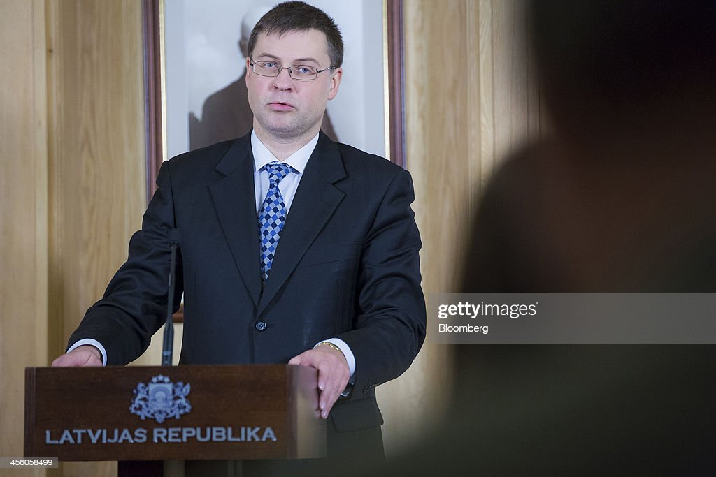 <a gi-track='captionPersonalityLinkClicked' href=/galleries/search?phrase=Valdis+Dombrovskis&family=editorial&specificpeople=5732119 ng-click='$event.stopPropagation()'>Valdis Dombrovskis</a>, Latvia's outgoing Prime Minister, speaks during a news conference in Riga, Latvia, on Tuesday, Dec. 10, 2013. The country of 2 million will become the 18th member of the euro area in January after transforming its finances and recovering from the world's deepest collapse in output four years ago. Photographer: Jason Alden/Bloomberg via Getty Images