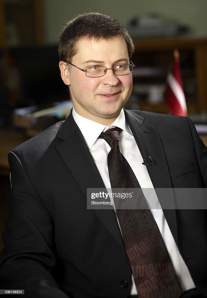 <a gi-track='captionPersonalityLinkClicked' href=/galleries/search?phrase=Valdis+Dombrovskis&family=editorial&specificpeople=5732119 ng-click='$event.stopPropagation()'>Valdis Dombrovskis</a>, Latvia's prime minister, gestures during a television interview at the Latvian embassy in London, U.K., on Wednesday, Jan. 19, 2011. The European Commission and International Monetary Fund have called on Latvia to make an additional 50 million lati ($95.4 million) of sustainable spending cuts and revenue increases this year. Photographer: Rupert Hartley/Bloomberg via Getty Images