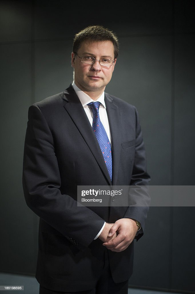<a gi-track='captionPersonalityLinkClicked' href=/galleries/search?phrase=Valdis+Dombrovskis&family=editorial&specificpeople=5732119 ng-click='$event.stopPropagation()'>Valdis Dombrovskis</a>, Latvia's prime minister, poses for a photograph following an interview in London, U.K., on Friday, Oct. 18, 2013. Latvia opted for euro adoption next year over public opposition rooted in the trauma of the Soviet Union's breakup because of the benefits to the country's businesses, President Andris Berzins said. Photographer: Simon Dawson/Bloomberg via Getty Images