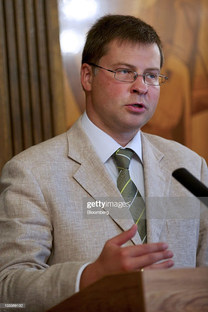 <a gi-track='captionPersonalityLinkClicked' href=/galleries/search?phrase=Valdis+Dombrovskis&family=editorial&specificpeople=5732119 ng-click='$event.stopPropagation()'>Valdis Dombrovskis</a>, Latvia's prime minister, speaks during a press conference in Sigulda, Latvia, on Friday, Aug. 13, 2010. Latvia, which is recovering from the European Union's worst recession last year, took 'courageous' decisions to combat its crisis that are starting to pay off, said World Bank President Robert Zoellick. Photographer: Ilmars Znotins/Bloomberg via Getty Images