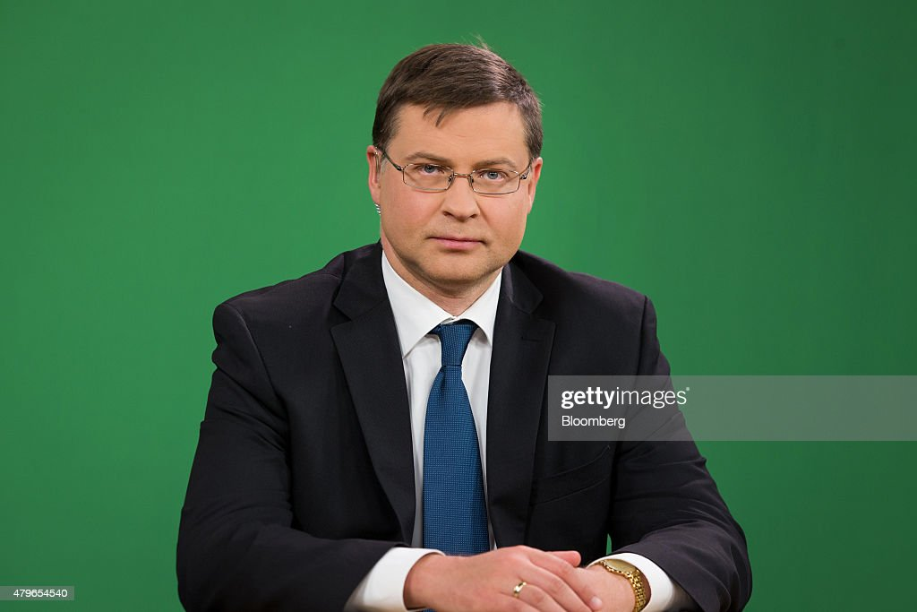 <a gi-track='captionPersonalityLinkClicked' href=/galleries/search?phrase=Valdis+Dombrovskis&family=editorial&specificpeople=5732119 ng-click='$event.stopPropagation()'>Valdis Dombrovskis</a>, vice president of the European Commission, looks on ahead of a Bloomberg Television interview in Brussels, Belgium, on Monday, July 6, 2015.Greece forfeited a November 2012 offer of debt relief by letting its bailout expire and is starting from a blank slate in seeking easier repayment terms, Dombrovskis said. Photographer: Jasper Juinen/Bloomberg via Getty Images