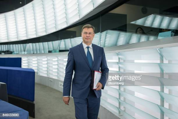 Valdis Dombrovskis vice president of the European Commission makes his way to the State of the Union speech at the European Parliament in Strasbourg...