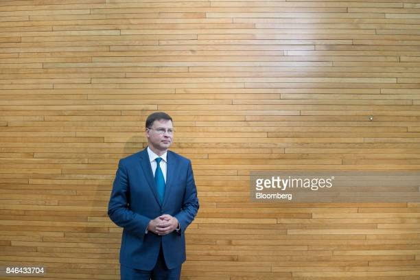 Valdis Dombrovskis vice president of the European Commission poses for a photograph following the State of the Union speech at the European...