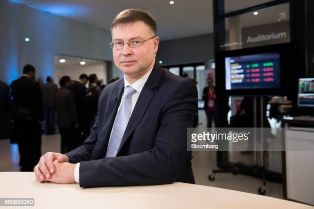Valdis Dombrovskis vice president of the European Commission poses for a photograph ahead of a Bloomberg Television interview at the One Planet...
