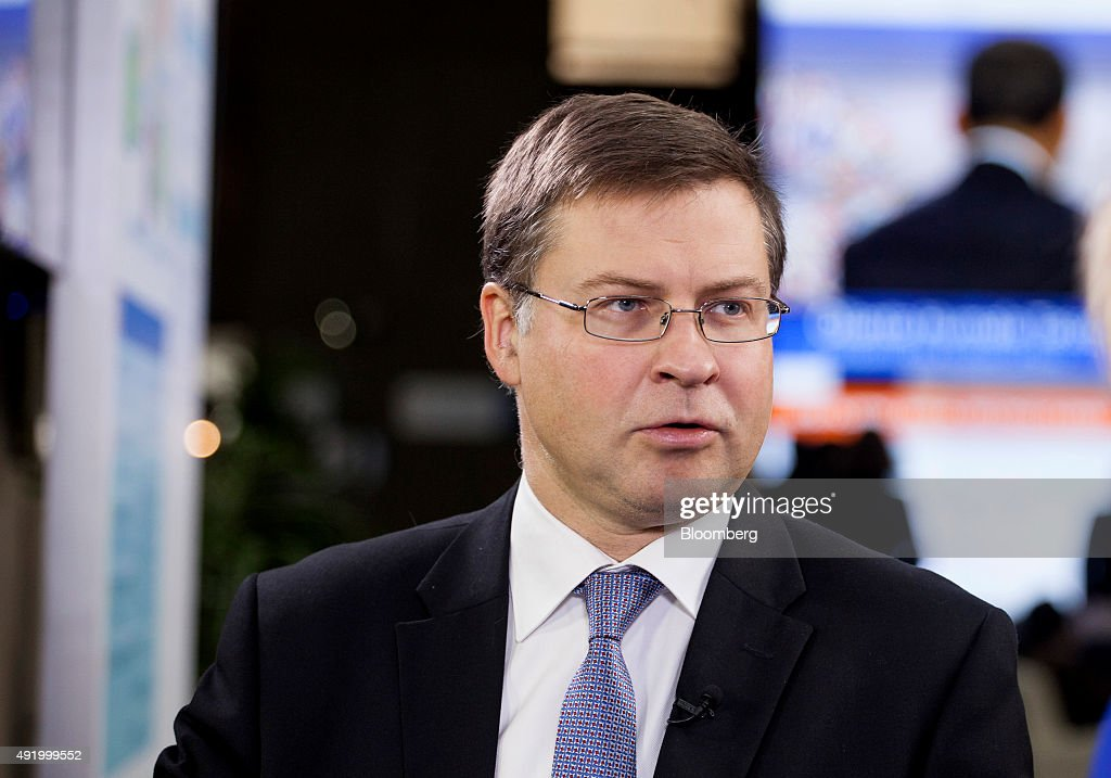 <a gi-track='captionPersonalityLinkClicked' href=/galleries/search?phrase=Valdis+Dombrovskis&family=editorial&specificpeople=5732119 ng-click='$event.stopPropagation()'>Valdis Dombrovskis</a>, vice president of the European Commission, speaks during a Bloomberg Television interview at the World Bank Group and International Monetary Fund (IMF) annual meetings in Lima, Peru, on Friday, Oct. 9, 2015. Dombrovskis discussed the main concerns for the global economy, economic growth in China and the global impact of monetary policy. Photographer: Guillermo Gutierrez/Bloomberg via Getty Images