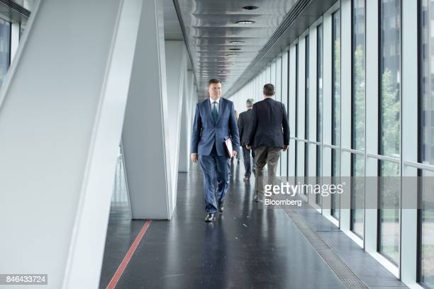 Valdis Dombrovskis vice president of the European Commission walks through the corridors of the European Parliament following the State of the Union...