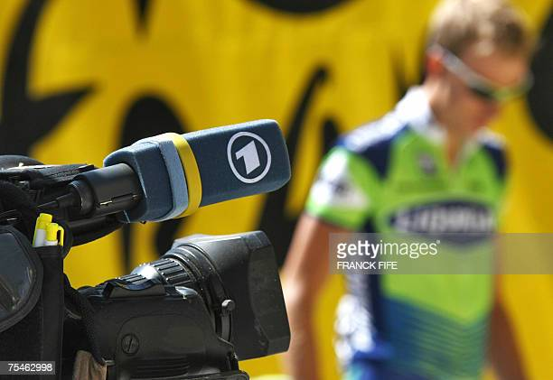 Vald'Isere FRANCE Picture shows a detail of a German ARD television camera taken before the start of the start of the ninth stage of the 94th Tour de...