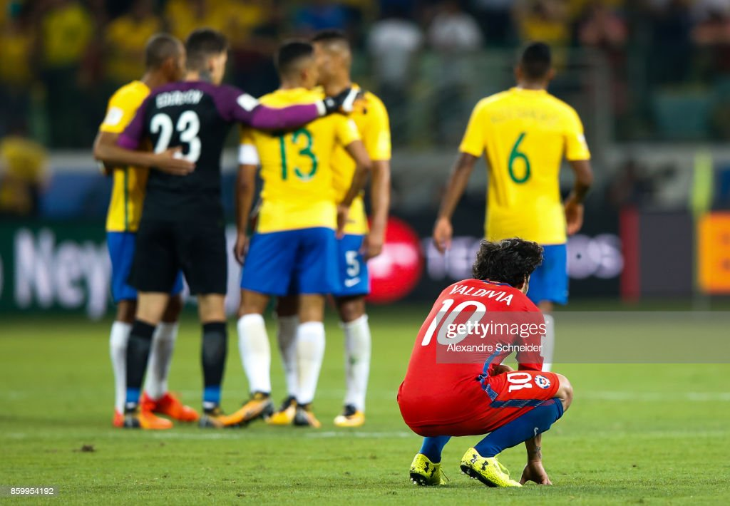 Valdivia of Chile reacts after losing the match between Brazil and Chile for the 2018 FIFA World Cup Russia Qualifier at Allianz Parque Stadium on October 10, 2017 in Sao Paulo, Brazil.