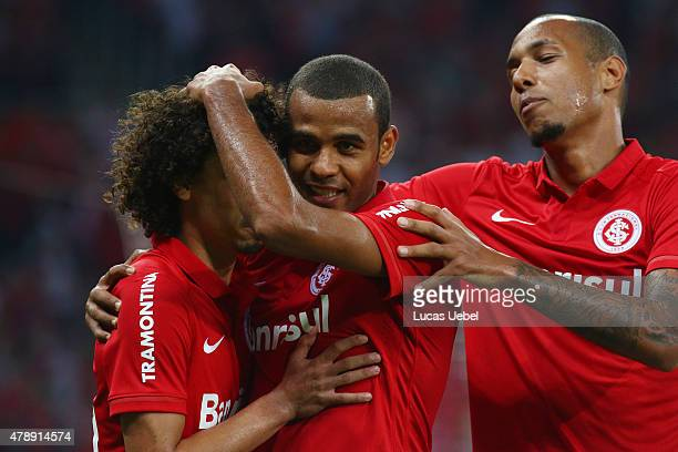 Valdivia of Internacional celebrates after score their first goal during the match between Internacional and Santos as part of Brasileirao Series A...