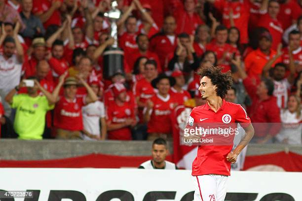 Valdivia of Internacional celebrates their first goal during match between Internacional and The Strongest as part of Copa Bridgestone Libertadores...