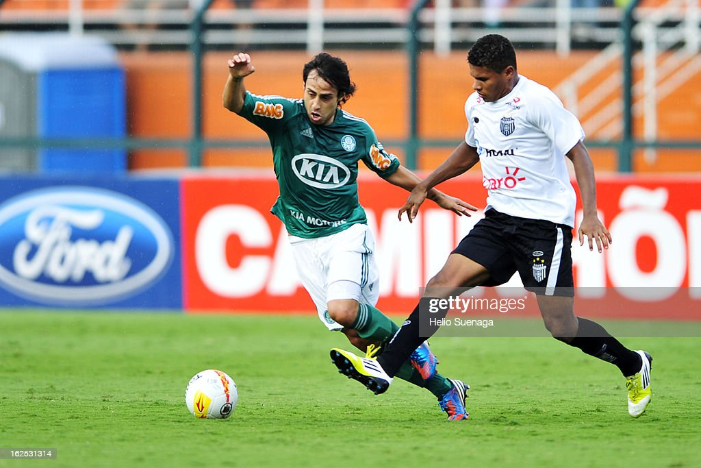 Valdivia of Palmeiras in action during a match between Palmeiras and UA Barbarense as part of the Paulista Championship 2013 at Pacaembu Stadium on February 24, 2013 in Sao Paulo, Brazil.