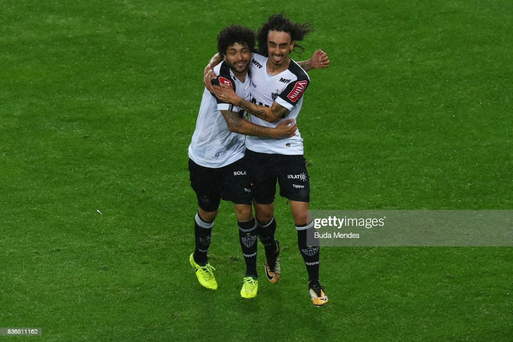 Valdvia (R) and Luan of Atletico MG celebrate a scored goal during a match between Fluminense and Atletico MG part of Brasileirao Series A 2017 at Maracana Stadium on August 21, 2017 in Rio de Janeiro, Brazil.