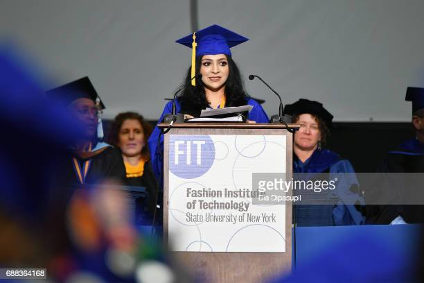 Valedictorian Gabriella Manduca speaks onstage during The Fashion Institute of Technology's 2017 Commencement Ceremony at Arthur Ashe Stadium on May...