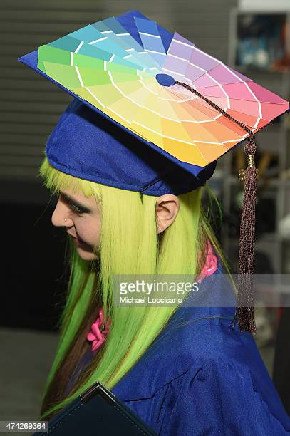 FIT 2015 valedictorian Jordan PattersonWeber fashion detail attends the FIT Commencement on May 21 2015 in New York City