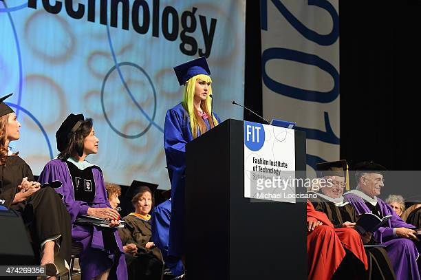 FIT 2015 valedictorian Jordan PattersonWeber speaks onstage during the FIT Commencement on May 21 2015 in New York City