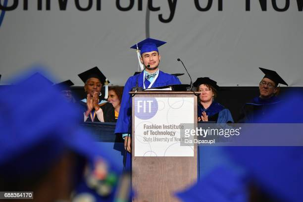 Valedictorian Nate Restrepo speaks onstage during The Fashion Institute of Technology's 2017 Commencement Ceremony at Arthur Ashe Stadium on May 25...