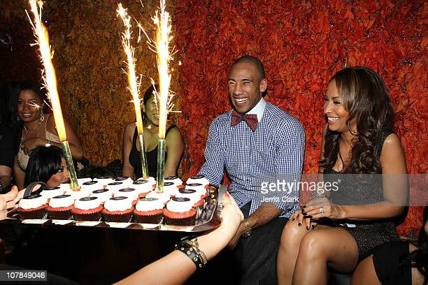 Valeisha Butterfield and Indiana Pacer Dahntay Jones celebrate his 30th birthday party at Greenhouse on January 1 2011 in New York City