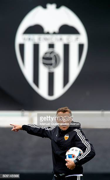 Valencia CF assistant coach Phil Neville gives instructions during a training session ahead of Wednesday's Copa del Rey Semi Final second leg match...
