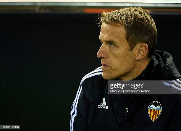 Valencia CF assistant coach Phil Neville looks on prior to the La Liga match between Valencia CF and UD Las Palmas at Estadi de Mestalla on November...