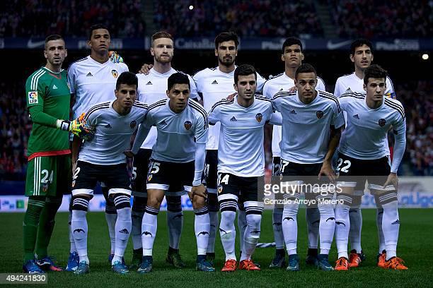 Valencia CF line up prior to start the La Liga amtch between Club Atletico de Madrid and Valencia CF at Vicente Calderon Stadium on October 25 2015...