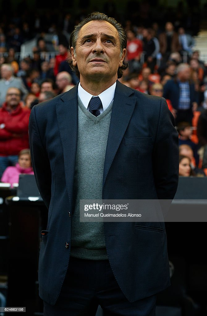 Valencia CF manager Cesare Prandelli looks on prior to the La Liga match between Valencia CF and Granada CF at Mestalla Stadium on November 20, 2016 in Valencia, Spain.