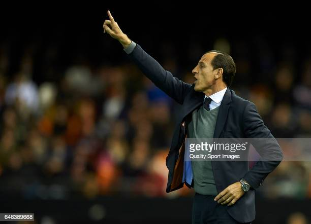 Valencia CF manager Salvador Gonzalez Voro reacts during the La Liga match between Valencia CF and CD Leganes at Mestalla Stadium on February 28 2017...