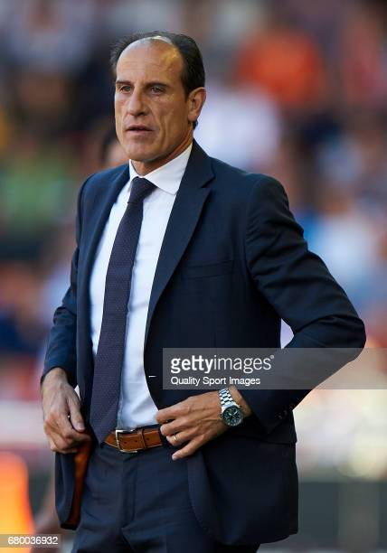Valencia CF manager Salvador Gonzalez Voro reacts during the La Liga match between Valencia CF and CA Osasuna at Mestalla Stadium on May 7 2017 in...