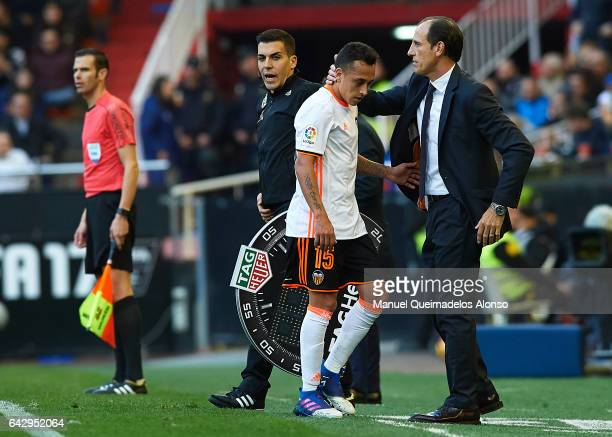 Valencia CF manager Voro Gonzalez embrace while Fabian Orellana during the La Liga match between Valencia CF and Athletic Club at Mestalla Stadium on...