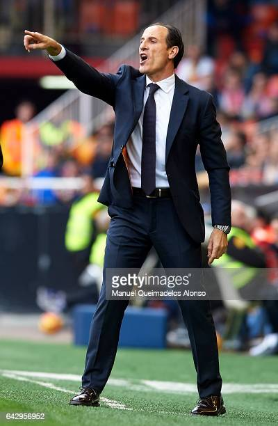 Valencia CF manager Voro Gonzalez gives instructions during the La Liga match between Valencia CF and Athletic Club at Mestalla Stadium on February...