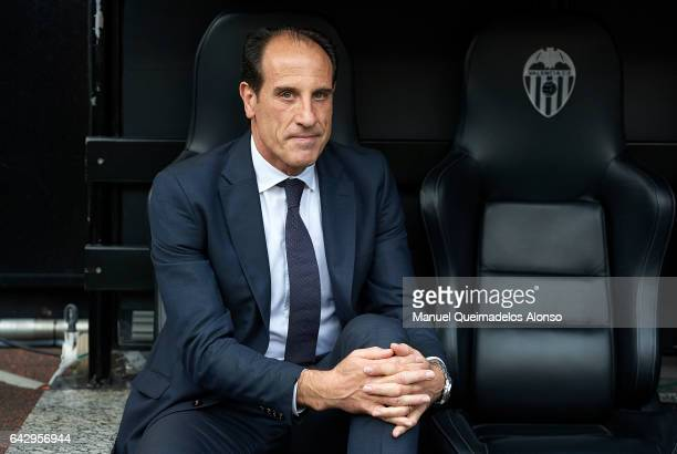 Valencia CF manager Voro Gonzalez looks on prior to the La Liga match between Valencia CF and Athletic Club at Mestalla Stadium on February 19 2017...
