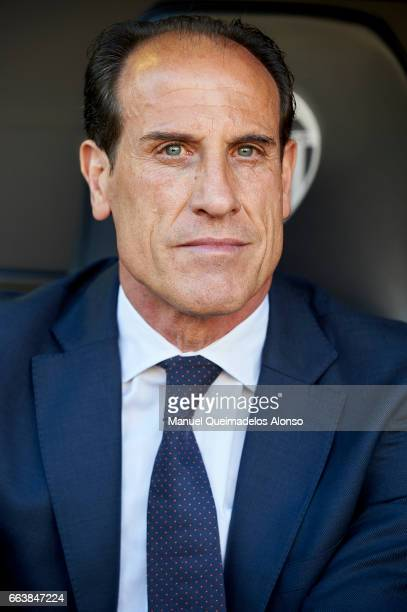 Valencia CF manager Voro Gonzalez looks on prior to the La Liga match between Valencia CF and Deportivo de La Coruna at Mestalla Stadium on April 2...