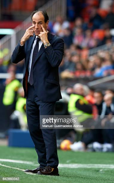 Valencia CF manager Voro Gonzalez reacts during the La Liga match between Valencia CF and Athletic Club at Mestalla Stadium on February 19 2017 in...