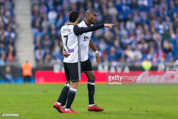 Valencia CF midfielder Geoffrey Kondogbia celebrates before scoring the first goal o Valencia CF with Valencia CF forward Goncalo Guedes during the...