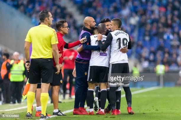 Valencia CF midfielder Geoffrey Kondogbia celebrates before scoring the first goal o Valencia CF during the match between RCD Espanyol vs Valencia CF...