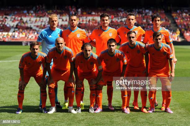 Valencia CF team group back row Valencia CF goalkeeper Yoel Rodriguez Oterino Ruben Vezo Antonio Barragan Nicolas Otamendi and Dani Parejo front row...