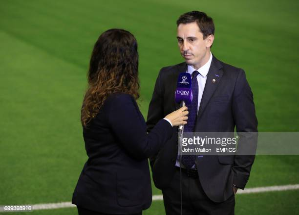 Valencia manager Gary Neville is interviewed by Bein Sports channel before the game