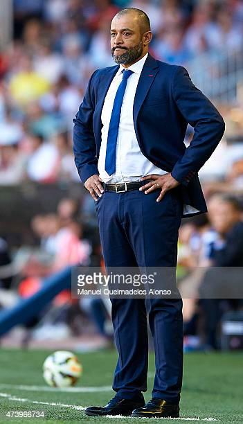 Valencia manager Nuno Espirito Santo looks on during the La Liga match between Valencia CF and Celta de Vigo at Estadi de Mestalla on May 17 2015 in...