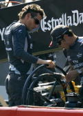Emirates Team New Zealand's skipper Dean Barker looks dejected after losing the sixth race against Alinghi in the America's Cup in Valencia 29 June...
